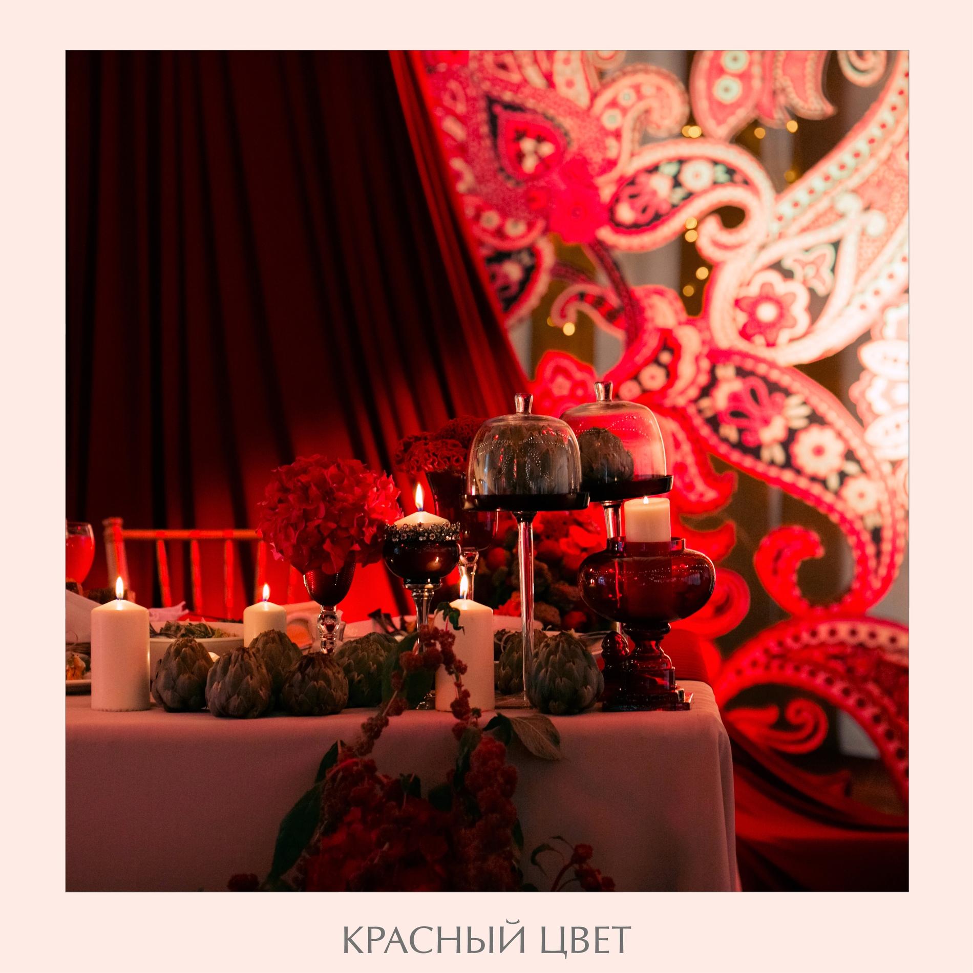красные подсвечники на свадьбу